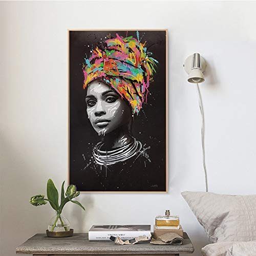 AJleil Puzzle 1000 Piezas Retrato Abstracto Arte Pintura Mujer Africana Foto Puzzle 1000 Piezas educa Rompecabezas de Juguete de descompresión intelectual50x75cm(20x30inch)