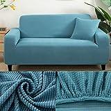 LINL Sofá Cama Jacquard protección sólida y setos Gruesos para Cubrir sofá Viviente para sofá Impreso,Azul,190-230cm 3 Lugares