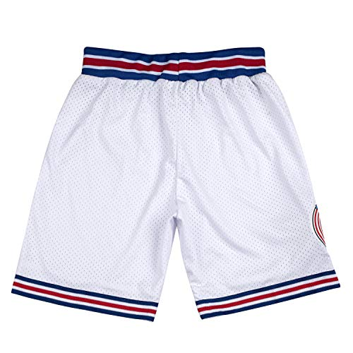Jugend Basketball Shorts 90er Jahre Kinder Space Jam Tune Squad Shorts S-XL weiß/schwarz - Weiß - XS
