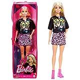 Barbie Fashionista Muñeca rubia con camiseta rock, falda de guepardo y accesorios de moda (Mattel GRB47)