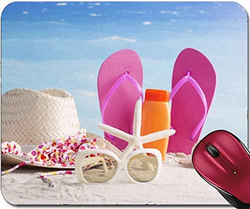 Mousepad Beach Artikel Mit Strohhut Handtuch Flip Flops Sonnencreme Und Sonnenbrille 30X25CM,Rutschfeste Unterseite,Maus Mausunterlage