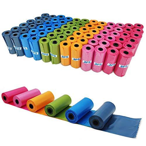 BPS, 1080 sacchetti per feci, escrementi di cani, per animali domestici, confezione da 72 rotoli multicolore, BPS-5382
