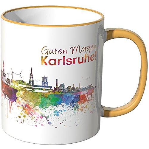 WANDKINGS® Tasse, Schriftzug Guten Morgen Karlsruhe! mit Skyline - DUNKELGELB