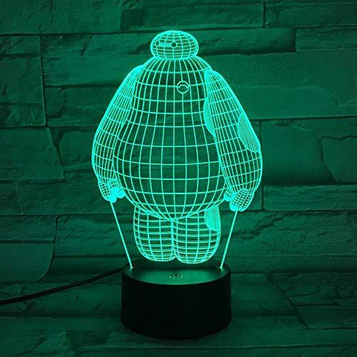 Luz de noche 3D Lámpara de noche LED para bebés Big Hero 6 Luz de noche para niños Habitación Sensor táctil Cambio de color Luz de noche LED para niños