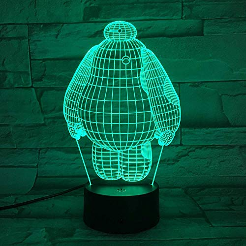Luz De Noche 3D Big Hero 6 Sensor De Cama Ren, 7 Colores,