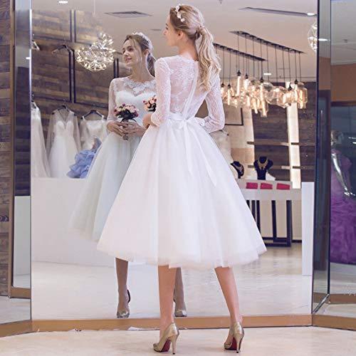 G-W bruid bruidsjurk lange mouwen in de lange sectie van kant mesh na de achterkant van de trouwjurk, a, XL