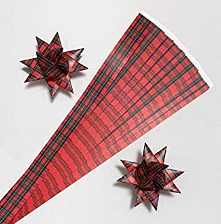 Paper Strips for Weaving Projects. Paper Strips for Moravian Stars, German Stars and Frobel Stars. Tartan/Plaid Pattern. 50 strips per pack. 3/4 inch x 19 inch in Size