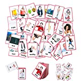 FieldDream 49pcs Adjectives Toddlers Flash Cards with Pictures Baby Learning Games Toys Education Flashcards for Kids Classroom Decoration Kindergarten Preschoolers with Ring Gifts