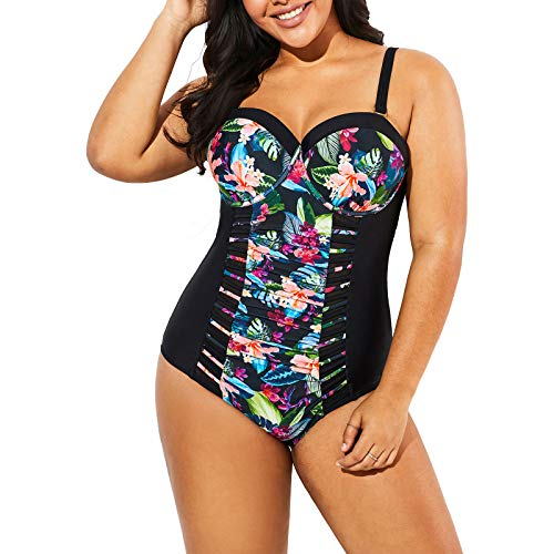 Meet.Curve Plus Size Underwire Floral Printed One Piece Bathing Suit Black Swimsuits for Women
