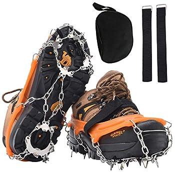 DAFENP Crampons 19 Dents Universelles en Acier Inoxydable Antidérapantes Crampon pour Chaussure Neige Sécurité et Protection pour Hiver Randonnée Pêche Marche Escalade Alpinisme (M, Orange)