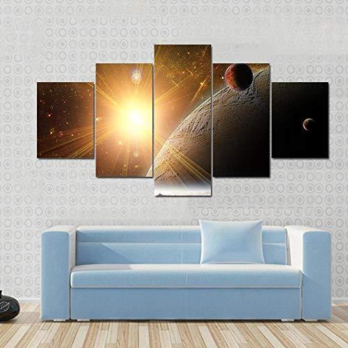 QWASD Planeta Luna Y Universo 5 Piezas Cuadros Lienzo Decoracion Salon Modernos De Pared Papel Pintado Murales Pintura Póster Fotos Regalo