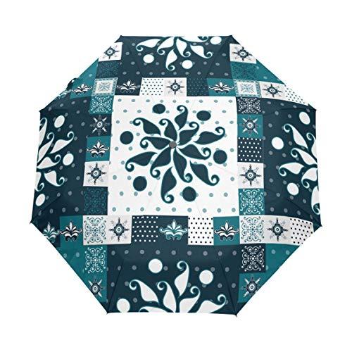 SUHETI Regenschirm Taschenschirm,Einhorn Fantasie Tiermärchen Weltschloss Kinderkarikatur,Auf Zu Automatik,windsicher,stabil
