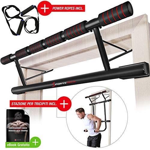 Occasione unica! Barra trazioni 4in1 inclusive Dip Bar & Power Ropes, sbarra per porta pieghevole KS500, montaggio sicuro per casa senza viti, barra per Fitness, Crossfit incl. eBook. (KS500)