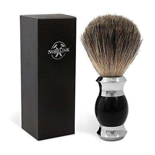 Nobelisk Premium Rasierpinsel aus Dachshaar mit hochwertigem Griff | Rasier-Pinsel aus Echthaar (Schwarz)