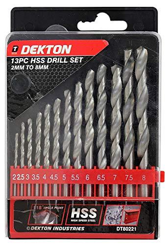 Dekton Dt80221 Hess perceuse, 240 V, Noir/rouge, 2 mm-8 mm, lot de 13 pièces