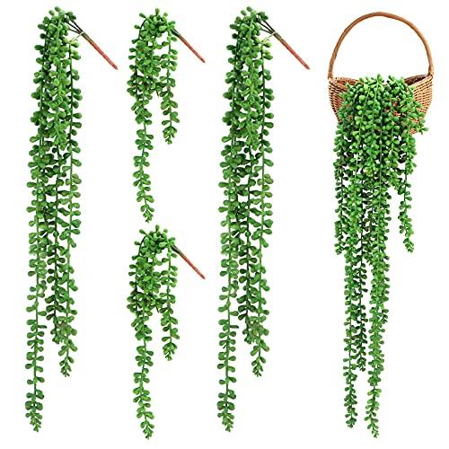4 Pezzi Piante succulente appese Artificiali Piante da Esterno Artificiali Corda di Perle appese per Decorazioni Nuziali Falsi Piante grasse appese per la Decorazione Domestica