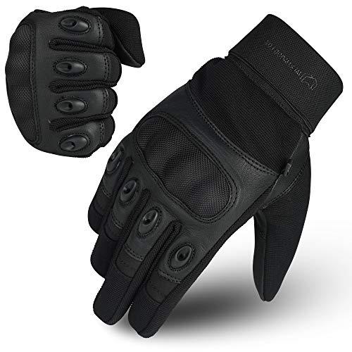 Guantes de piel WFX de motocicleta adecuados para pantalla táctil con dedos completos con nudillos duros. Para motociclismo, senderismo o acampada