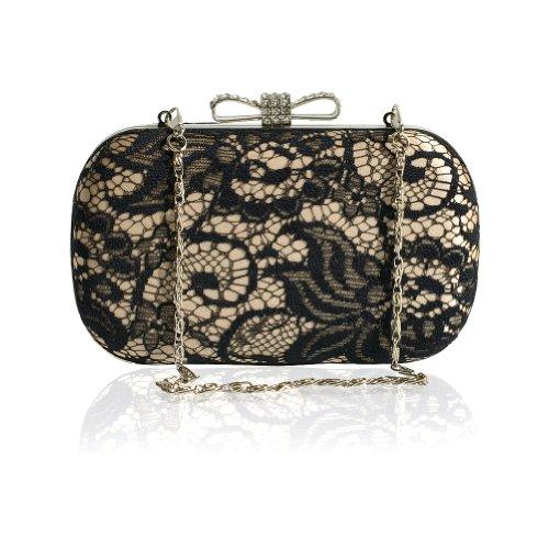 Damen Süße Stil Bogen Satin Brot Spitze Abendkleid Handtasche Kette Schwarz