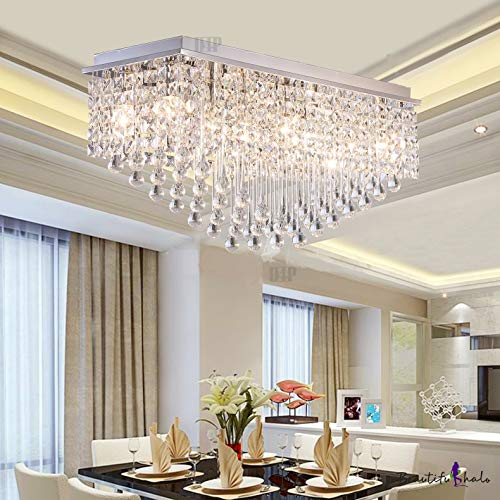 Crystal Glass Ceiling Lamp Stainless Steel Chandelier with Glass Bead &Sparkling K9 Crystal Chandelier 4 Yellow Light A3
