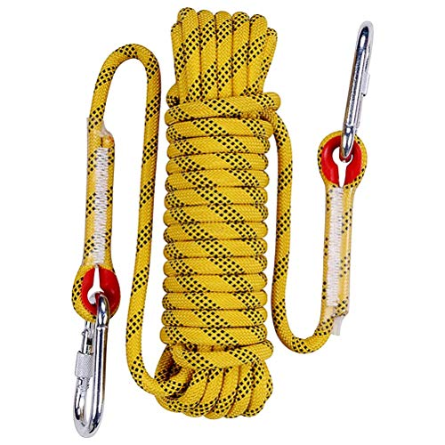 Aoneky 10 mm Static Outdoor Rock Climbing Rope, Fire Escape Safety Rappelling Rope (Yellow 2, 49)