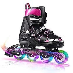 Inline Skates für Mädchen Kinder, Verstellbare Rollschuhe mit Leuchträdern für Frauen Männer Jungen Kleinkinder