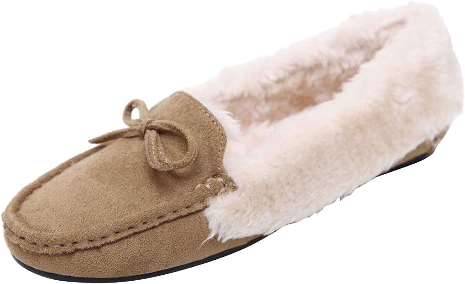 AGOWOO Womens shoes Faux Fur Slip On Moccasins Slippers Loafers