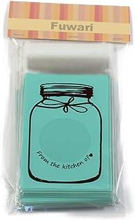 【Fuwari】 お菓子 クッキー チョコレート ラッピング 100枚 包装袋 小分け  プレゼント ホワイトデー 義理チョコ 友チョコ などに (S, ミント)