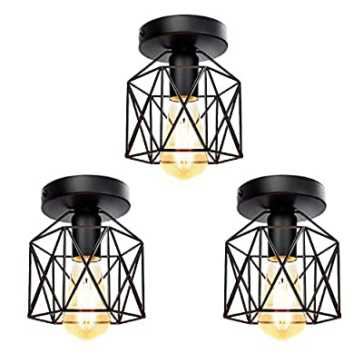 Tipace Industrial Vintage Semi-Flush Mount Ceiling Light,E26 Black Rustic Metal Cage Close to Ceiling Light Fixture for Hallway Stairway Bedroom Kitchen Farmhouse 3 Pack (Bulbs Not Included)