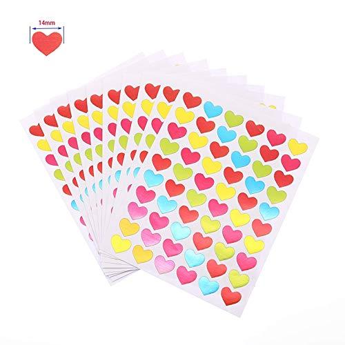 10 Sheets/Pack Of Children'S Mini Kindergarten Award Stickers Teacher Praise Praise Label Award Five-Pointed Star Heart Shape