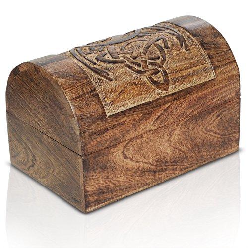 Kleine schatkist houten kist schatkist vintage look antiek design piraten schatzoek hout rood bruin zwart spaarpot kist boerenkas hout spaarkist