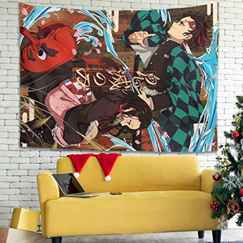 Hothotvery Tapiz Nezuko Tanjiro, arte de pared impreso, alta calidad, tapiz, decoración para estudiantes, blanco, 230 x 150 cm