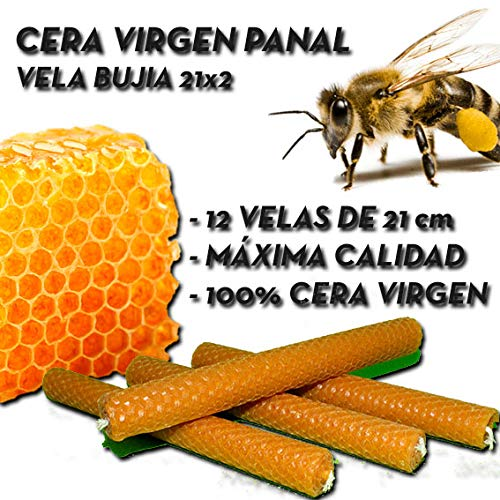 12 Velas DE Cera Virgen Panal Vela BUJIA 21x2 - MÁXIMA Calidad - BIOPHARMACIA