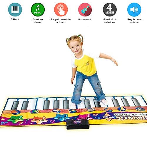 BAKAJI Tappeto Musicale Tastiera da Pavimento Giocattolo per Bambini con 8 Suoni Strumenti Musicali Funzione Registrazione e Demo Dimensione 180 x 74 cm