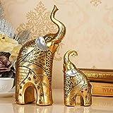Estilo Europeo Sala de Estar TV de Lujo Vinoteca Muebles artesanales Elefantes Un par de Regalos Decoraciones para el hogar, Un par de Orejas Plateadas (Spot)