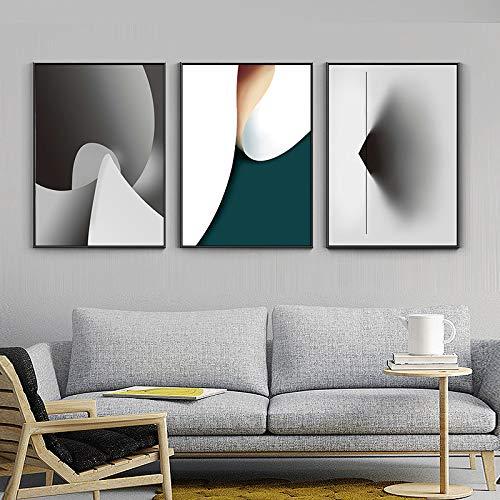 WSNDGWS Curve Space Creatieve zwart-wit schilderij abstracte woonkamer decoratie schilderij veranda muurschildering geen fotolijst 40x50cmx3 A3