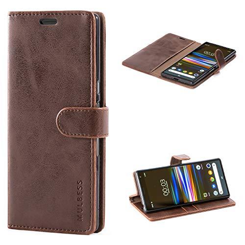 Mulbess Handyhülle für Sony Xperia 10 Plus Hülle Leder, Sony Xperia 10 Plus Handy Hüllen, Vintage Flip Handytasche Schutzhülle für Sony Xperia 10 Plus Hülle, Kaffee Braun