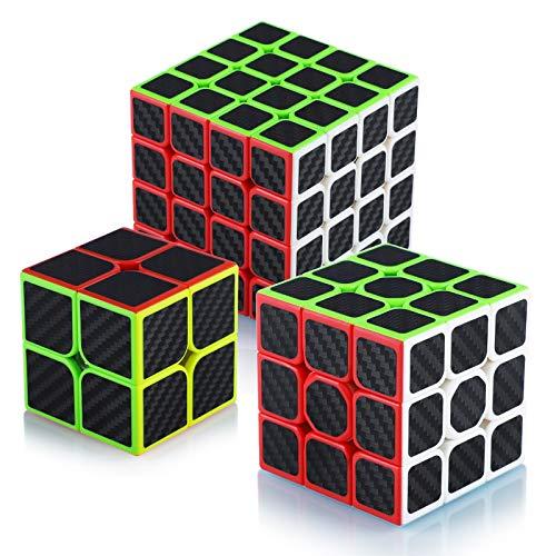 Maomaoyu Speed Cube Ensemble 2x2+3x3x3+4x4x4 3 Pack Puzzle TwistMagic Cube Fibre de Carbone Autocollant Cube de Vitesse Magique Cadeau de Vacances pour Enfants Adultes Noir