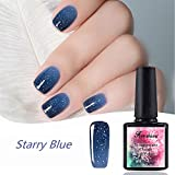 10ML Chameleon Temperature Color Changing Gel Nail Polish Soak-off UV LED Gel Polish, with Pearlescent Particles Laser Sequins Color Starry Blue