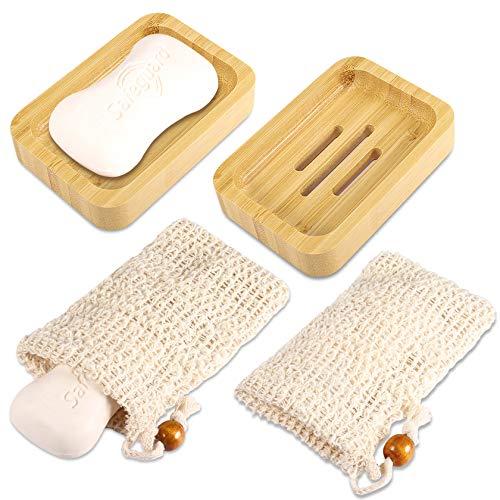PAMIYO 2 STK Seifenschale Bambus 2 STK Seifensäckchen,Naturholz Seifenschalen Handarbeit Seifenhalter Seifenablage Küche Bad Seife Waschbeckenablage Bio Seifensack mit Kordel für Gesicht Körper