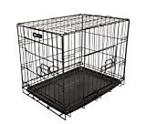 Dog Puppy Cage Pet Folding 2 Door Crate with Plastic Tray Small 24-inch Black (Small)