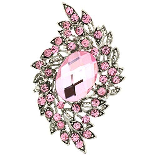 PYNK Sieraden Broches Winkel Licht Rose Roze Kristal & Zilver Corsage Broche