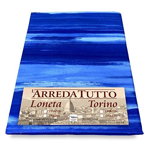 Tex family Tela decorativa cubretodo, gran foulard para cubrir la cama, el sofá, tejido Rio azul – 1 plaza