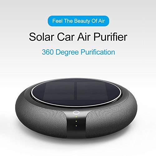 LG&S Solarauto-Luftreiniger Tragbare Mini-Filter Personal Desktop-Luftreiniger mit Nachtlicht für Staub Pollen Allergien Haustiere Rauch Mold,Braun