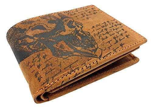 echt Büffel Vollleder Geldbörse mit RFID Schutz, quer, naturbelassenes Hunterleder Portemonnaie Totenkopf Schädel Skull