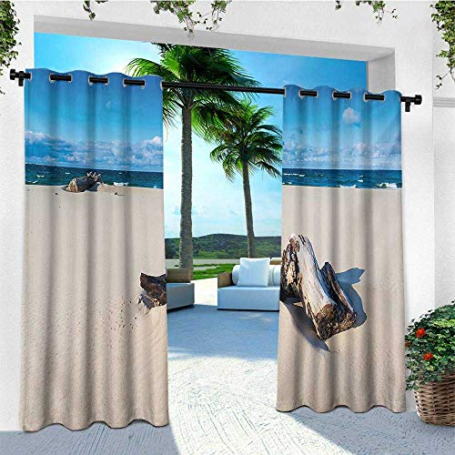 leinuoyi Driftwood, Outdoor Patio Curtains, Landscape of The Sandy Sea Shore with Driftwood Cloudy Sky Digital Image, for Patio Furniture W84 x L108 Inch Blue and Beige