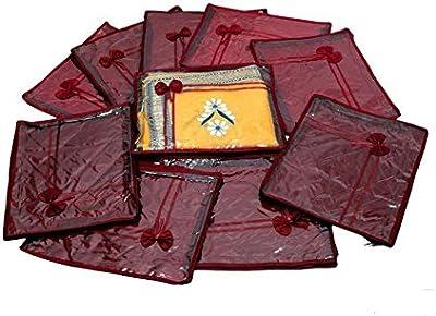 Kuber Industries 10 Piece Satin Saree Cover, Maroon