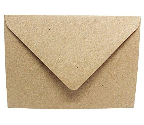 50 Kraftpapierumschläge - Briefumschläge aus Kraftpapier - Vintage Recycling - DIN C6 Kuvert - passend für DIN A6 Karten - nassklebende Kuverts für Einladungskarten, Grußkarten, Postkarten