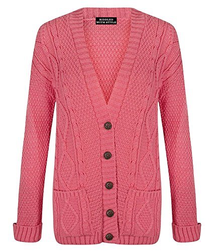 B&S Trendz - Cardigan - Cardigan con bottoni. - Manica Lunga - Donna Corallo 56 IT/58 IT XXX-Large