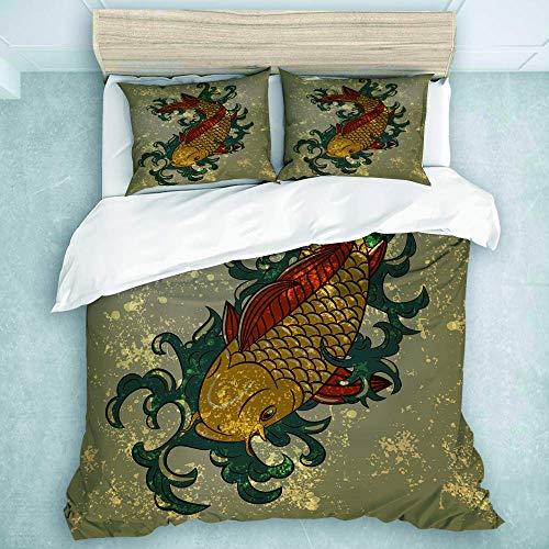 HBGDFNBV 446 Grunge Asian Style Oriental Water Koi Carp Fish Acquatic Theme Motivo Distressed Pattern,Terrazza camera da letto 3 pz Set di biancheria da letto (1 copripiumino + 2 federe), king size