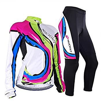 NUCKILY Women Cycling Jersey Set Winter Fleece Thermal Cycling Jacket Suit Bike Top with Padded Pants 4 Pockets